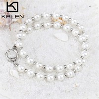 2015 KALEN Latest Design Stainless Steel Imitation Pearl Beads Necklace For Women