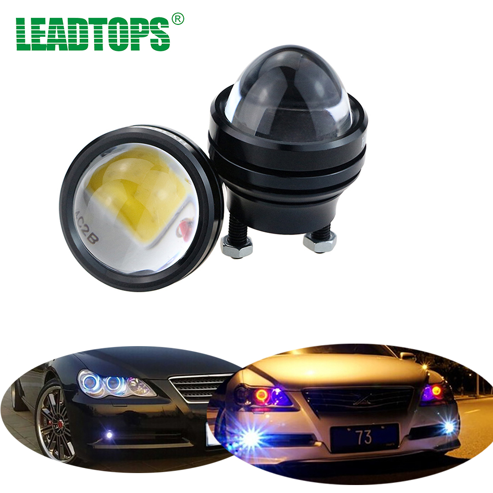 LEADTOPS 2PCS DC 12V Super Bright LED Light Eagle Eye Daytime Running Light DRL Waterproof Parking Lights  for Audi/BMW F leadtops car led lens fog light eye refit fish fog lamp hawk eagle eye daytime running lights 12v automobile for audi ae