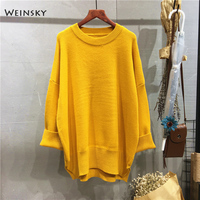 Weinsky Casual Women Knitted Sweaters And Pullovers Ladies Autumn And Winter 2018 Korean Oversized Long Sweaters Yellow White