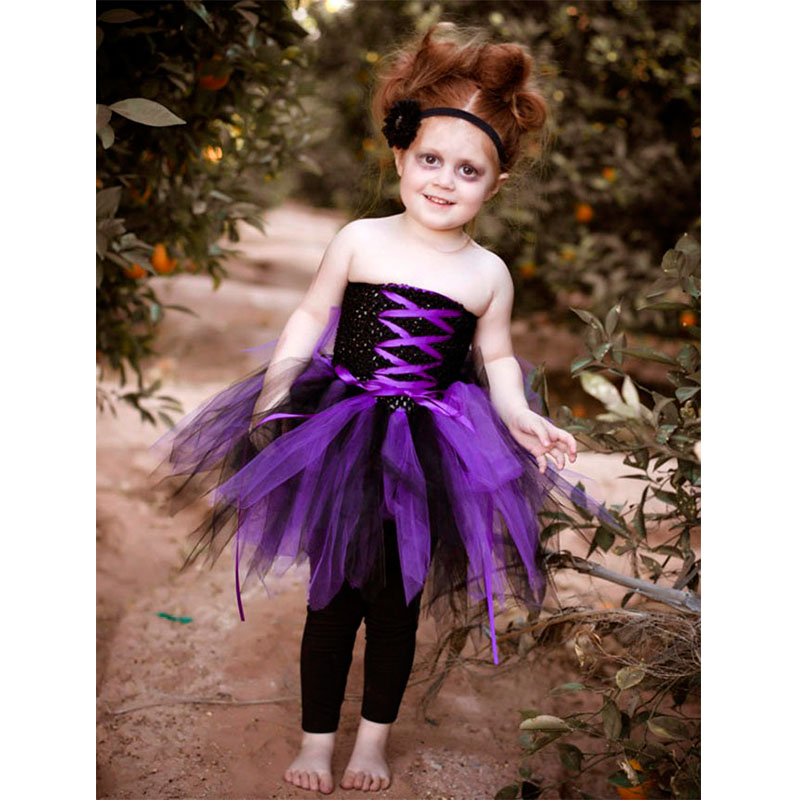 baby girls halloween tutu dress purple zombie cosplay dress cute girls party ball gown dress t269 - Halloween Tutu Dress