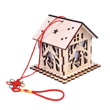 Vintage DIY Assemble Wooden Lantern Decoration Home Craft Lamp LED Light Gift Party Supplies Hanging Wedding House Shaped(China)