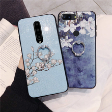 flower glitter phone case for OnePlus one plus 7 pro 6 6T 5 5T wristband strap finger ring holder soft back cover coque fundas