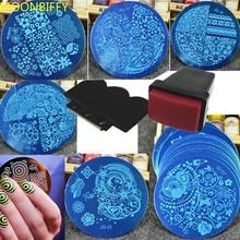 10Pcs Nail Plates +1 Stamper + 1 Scraper Nail Art Templates Nail Stamping Plates DIY Stamping Scraper Nail Art Decoration