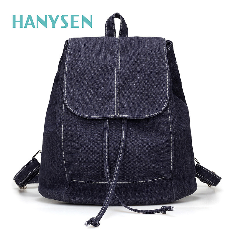 HANYSEN 2017 Spring Vintage Women Canvas Backpack New Solid Hasp Female Travel Bags Korean Canvas School