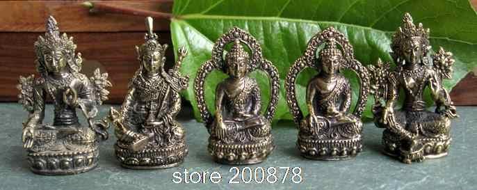 HDC0683 Tibetaanse Mini Pocket Amulet Boeddha Gouden Boeddha Status Decor Ambachten Lotus-geboren Schat Collecties