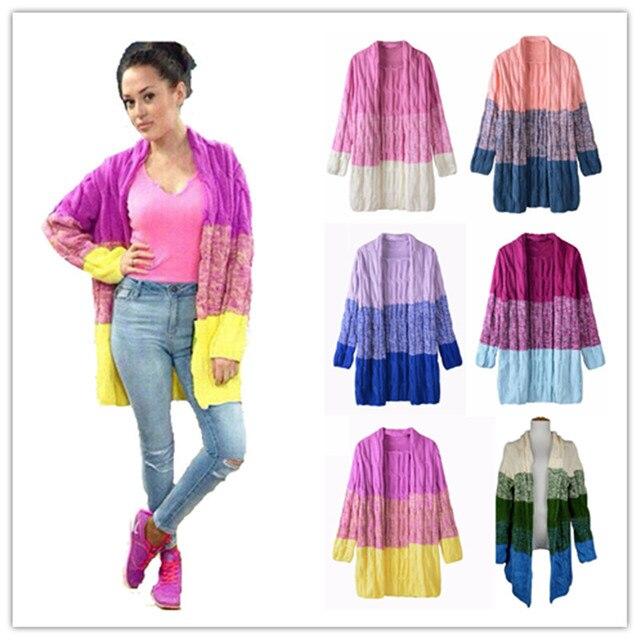 2015 New Women Cardigan Sweater Rainbow Gradient Color Tie Dye Free ...
