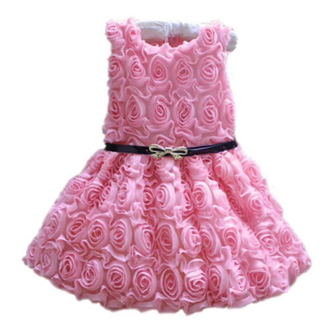 Kids Girls Pink Rose Flower Pattern Princess Dress Girl Birthday Party Dresses Children Wedding Clothes Teenager Prom Designs summer 2017 new girl dress baby princess dresses flower girls dresses for party and wedding kids children clothing 4 6 8 10 year