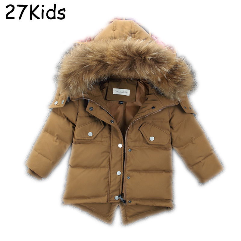 Down Jacket Kids Real Fur Coat Casual Boy Fur Hood Winter Jacket Girl Windproof Thick Winter Brand Outerwear Teenagers Parkas russia winter boys girls down jacket boy girl warm thick duck down