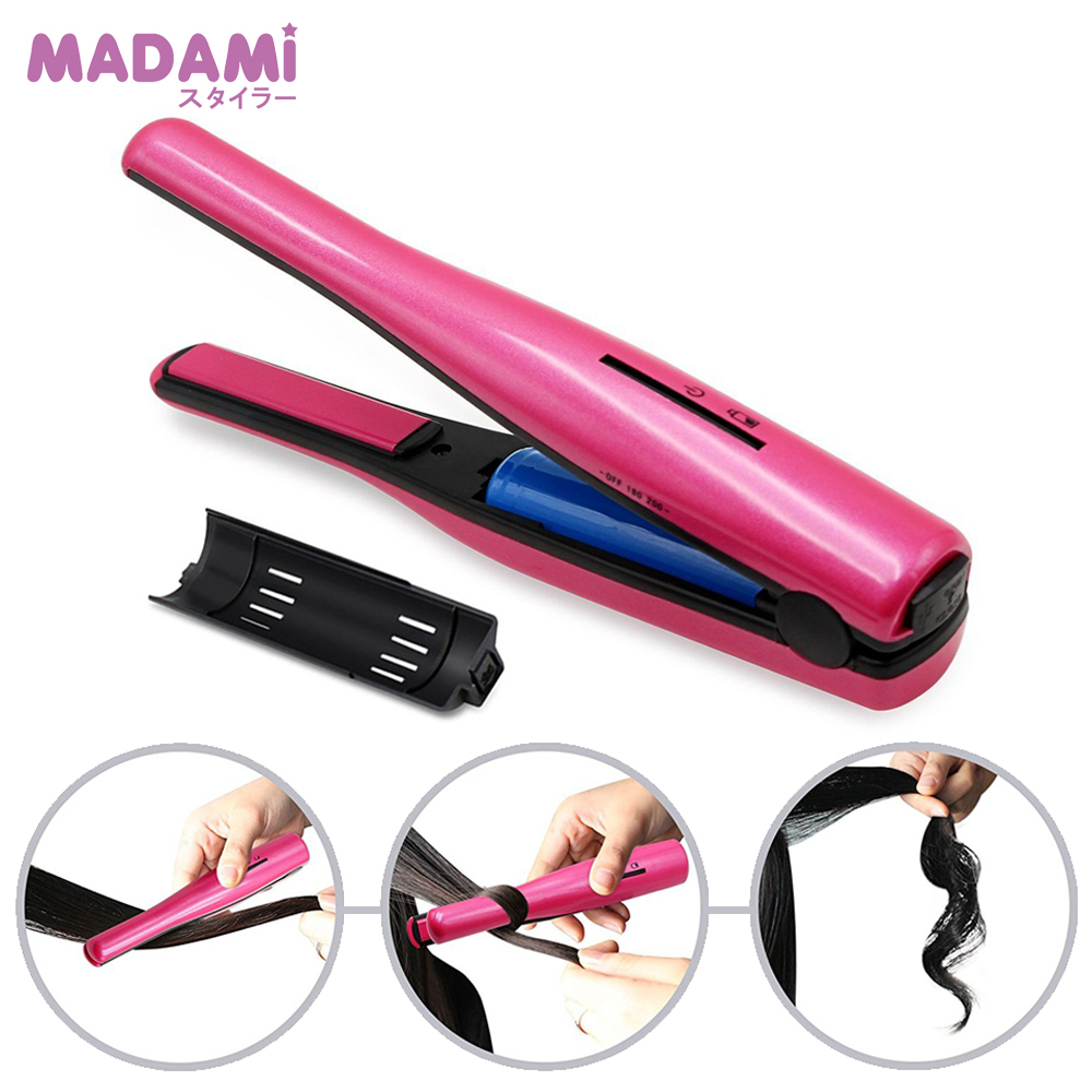 Portable Cordless Power USB Rechargeable Li ion Battery Mini Hair Straightener Ceramic Iron Hair Curling and