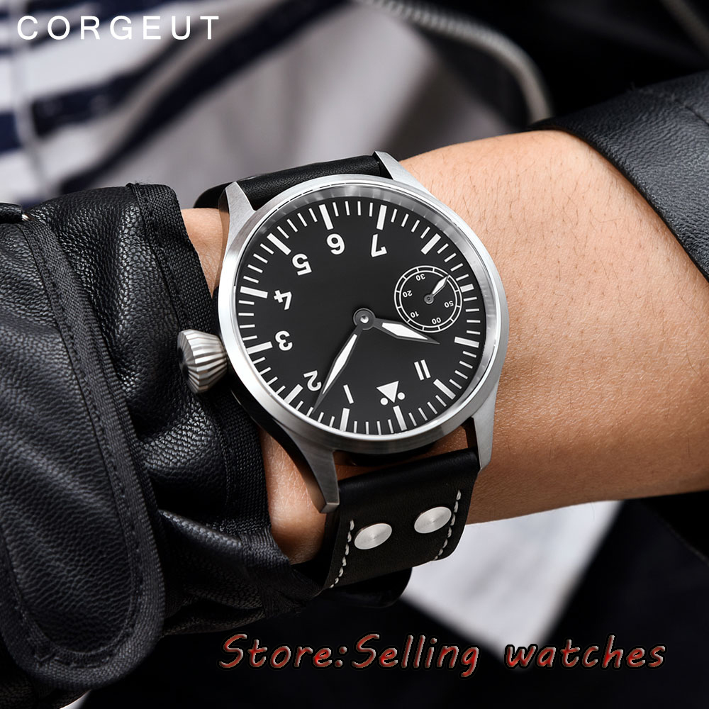 44mm corgeut black sterile dial luminous sapphire glass 6497 hand winding mens watch 44mm black sterile dial green marks relojes 6497 mens mechanical hand winding watch luminous armbanduhr cm164bk
