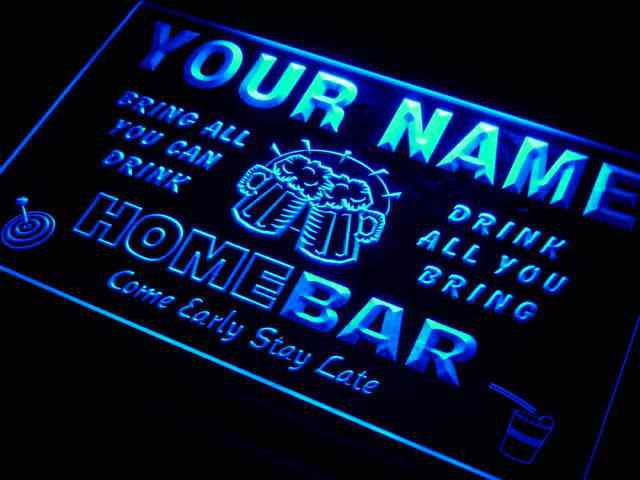 q-tm Name Personalized Custom Family Home Brew Mug Cheers Bar Beer Neon Sign with On/Off Switch 7 Colors 4 Sizes