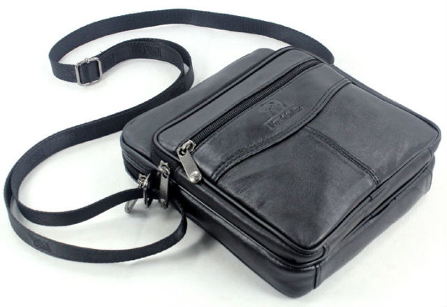 Fashion Lamb skin Leather Men's messenger Bag Genuine Leather Shoulder bag for men Casual Crossbody Bag small Bag Black M014#