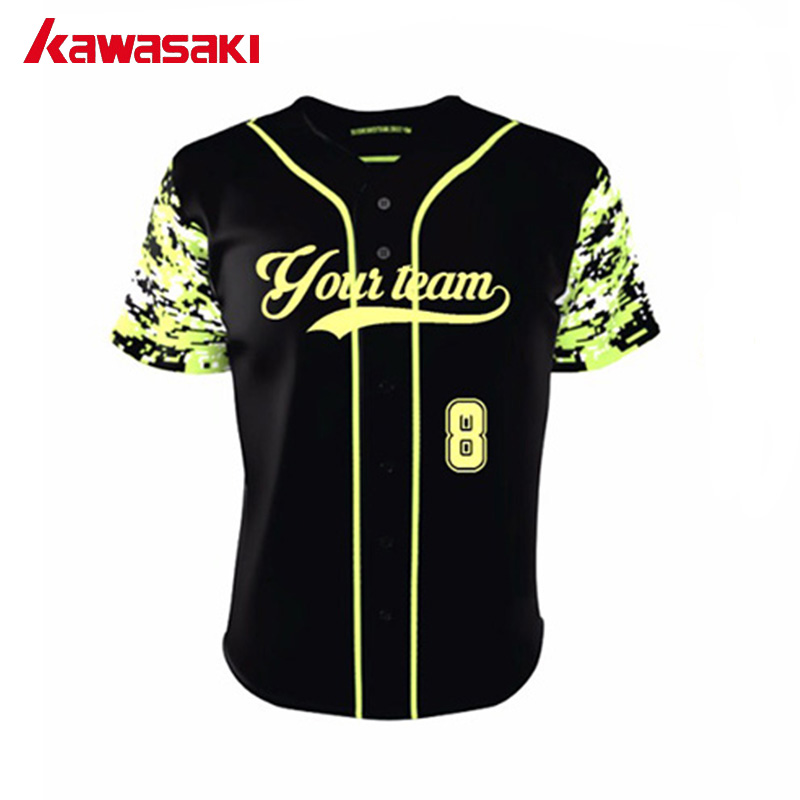 f44fe1486 Kawasaki Professional Custom Camo Baseball Shirt Sublimation Full Buttons  Plus Size XS-4XL Softball Jerseys For Men& Women