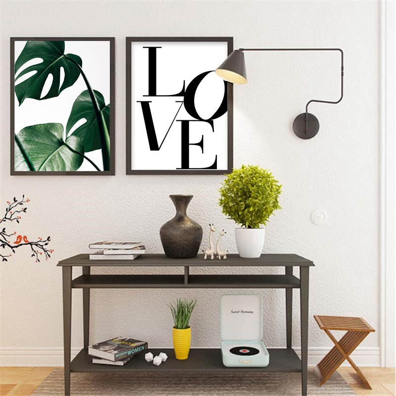 Word Love Canvas Art Print Bedroom Wall Decor , Scandinavian Modern Canvas  Painting Prints Romantic Home