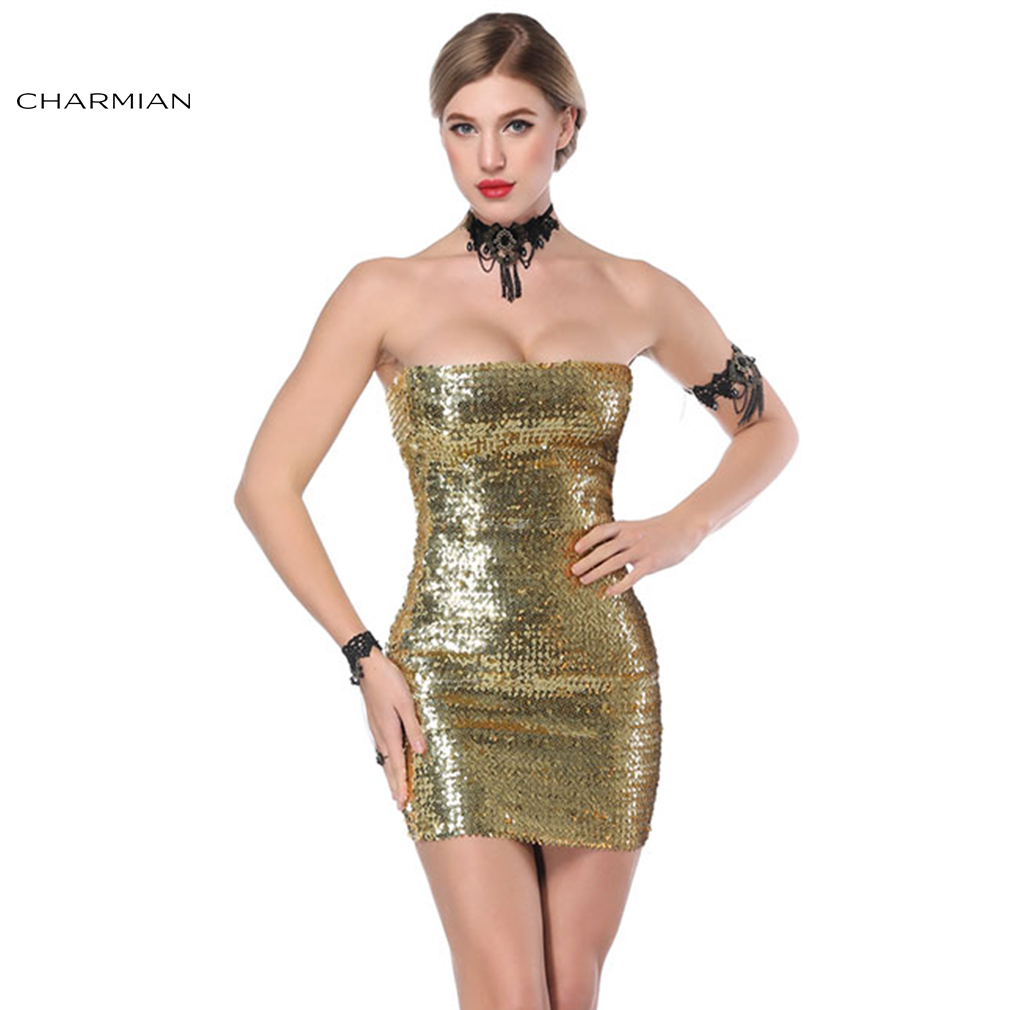 Charmian Women's Sexy Bodycon Mini Dress Strapless Club Wear Party Dresses Gold Red Sequin Stretchy Dress Vestidos