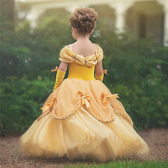 Baby Girls Beauty and the Beast Costume Tulle Kids Princess Belle Party Gown Halloween Birthday Dress Clothes Summer Frock 2