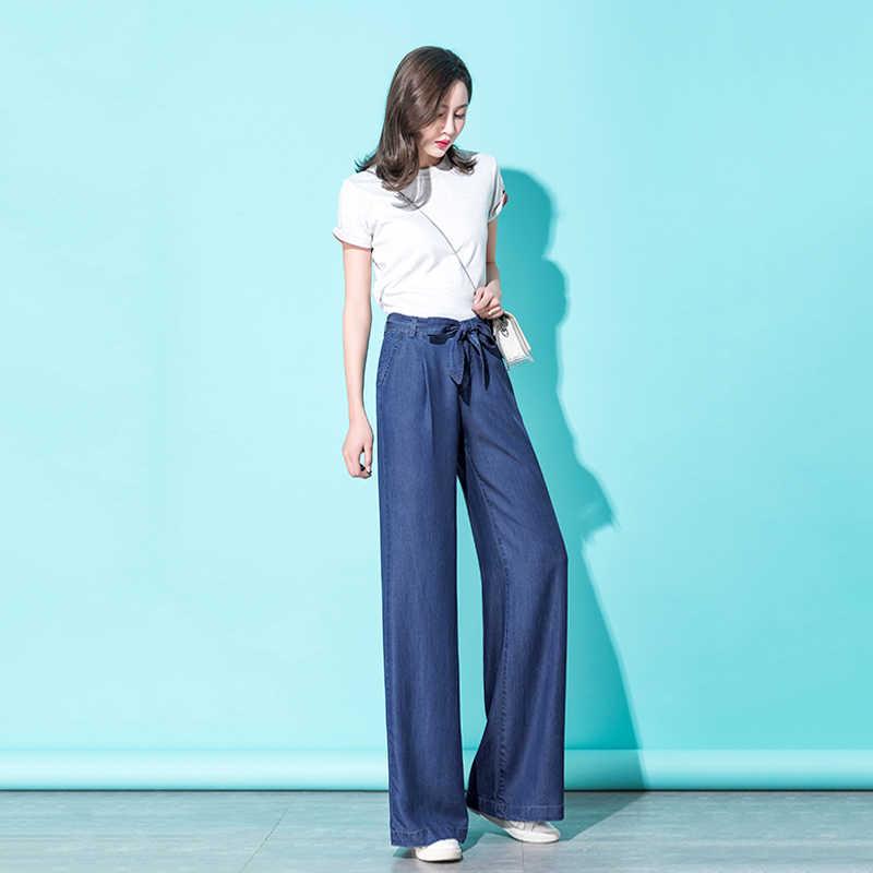2019 קיץ כחול Tencel ג 'ינס נשים עצמי חגור Streetwear גבוהה מותניים מכנסיים Sashes Loose יבול עבור גבירותיי מכנסיים