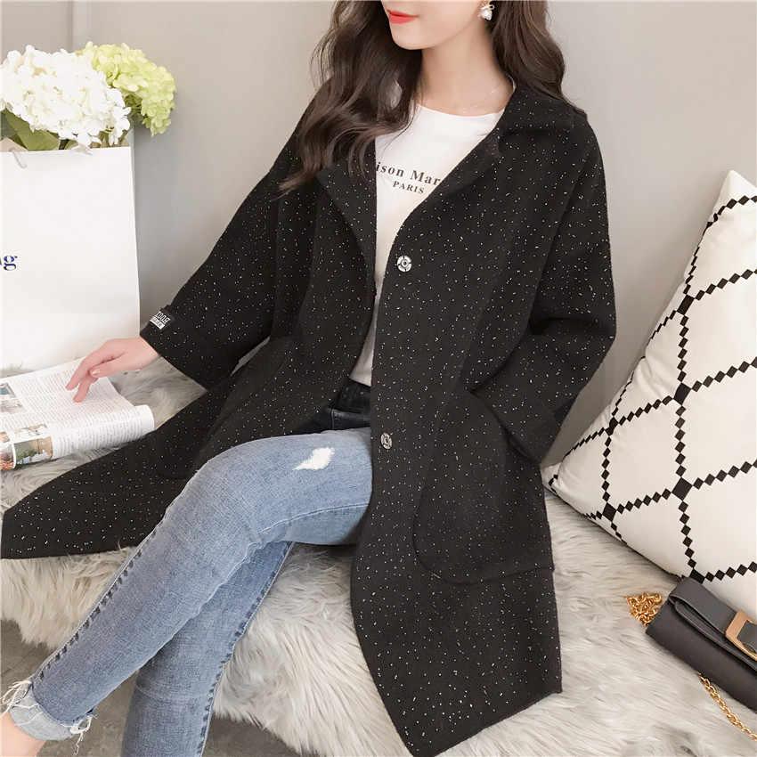 2019 New Large size Women Sweater New Spring Autumn Women knitting Cardigan Sweater Long Women Casual Gray Knit Sweaters