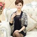 2016 novas mulheres de meia-idade twinset conjunto de roupas mãe feminina suéter cardigan moda camisola mulheres outerwear definir