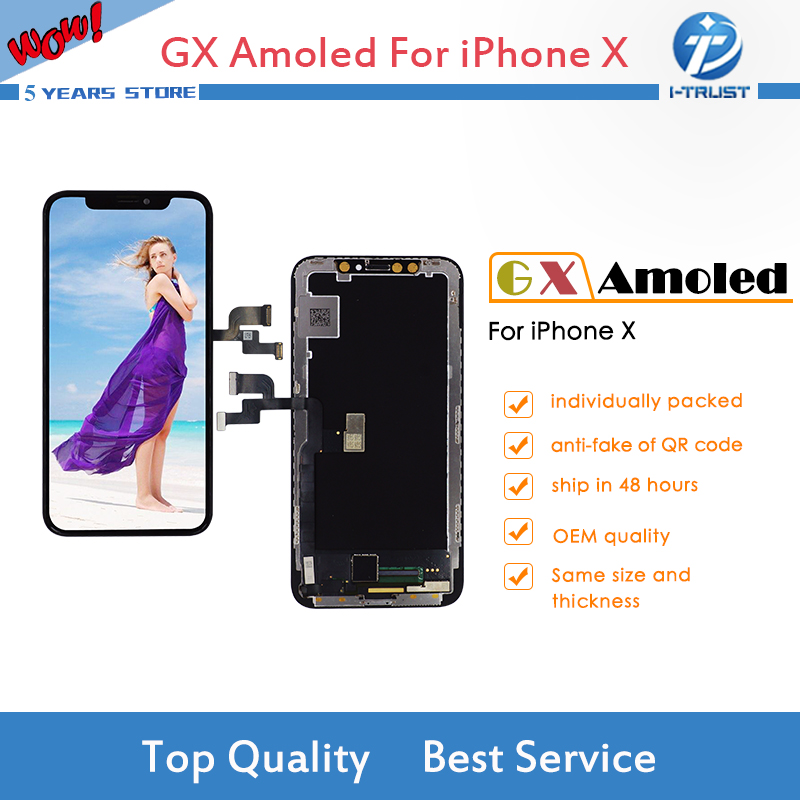 GX Amoled LCD or Display or Screen For iPhone X OEM Touch Screen Digitizer Assembly Replacement Free DHL Shipping 20pcslot