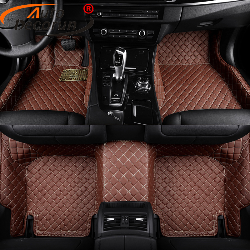 AutoDecorun Custom Car Mats For Hyundai ix35 New Santa Fe Coupe Grand SantaFe Azera Veracruz Veloster PVC Leather Car Floor Mats