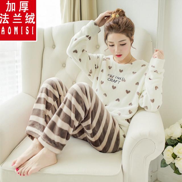 El otoño y el invierno polar de coral Pijamas de Las Muchachas de Corea estudiante de dibujos animados traje de Muebles Para El Hogar de invierno de manga larga T-shirt