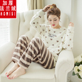 Outono e inverno coral fleece Meninas Coreanas inverno terno Mobiliário Doméstico Pijama dos desenhos animados estudante T-shirt de manga comprida