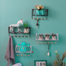 Nordic living room bedroom Metal Wall Shelf racks wrought iron wall hanging wooden storage rack creative partition