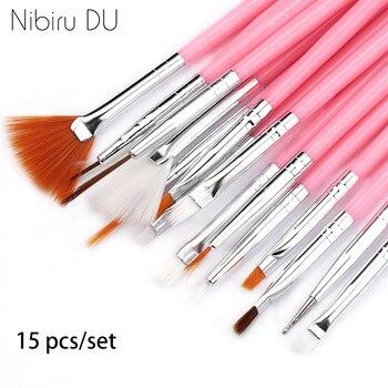 15 Pcs Plastic Handle Nail Brush Set Design Gel Polish Painting Drawing Acrylic Gel Nail Brushes For Nails Art Manicure Tools