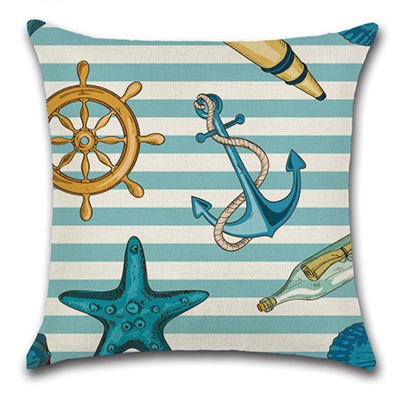 2pcs Anchor Sea Star Sailing Boat Steering Wheel Lighthouse Telescope Drifting Bottle Fresh Sea Style Cushion Cover Stripes