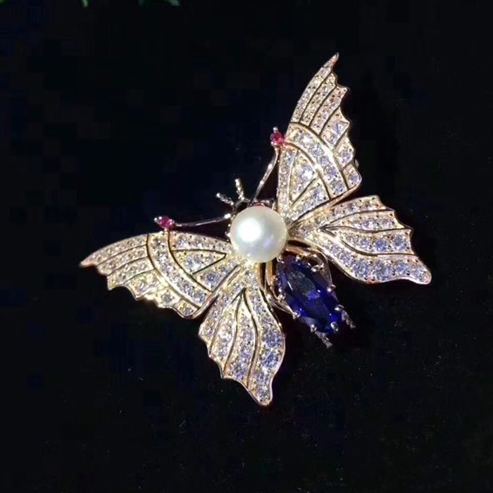 S925 Sterling Silver Accessories Female Butterfly Brooch Pendant With Two Models Inlaid Single Pearl Elegant TemperamentS925 Sterling Silver Accessories Female Butterfly Brooch Pendant With Two Models Inlaid Single Pearl Elegant Temperament