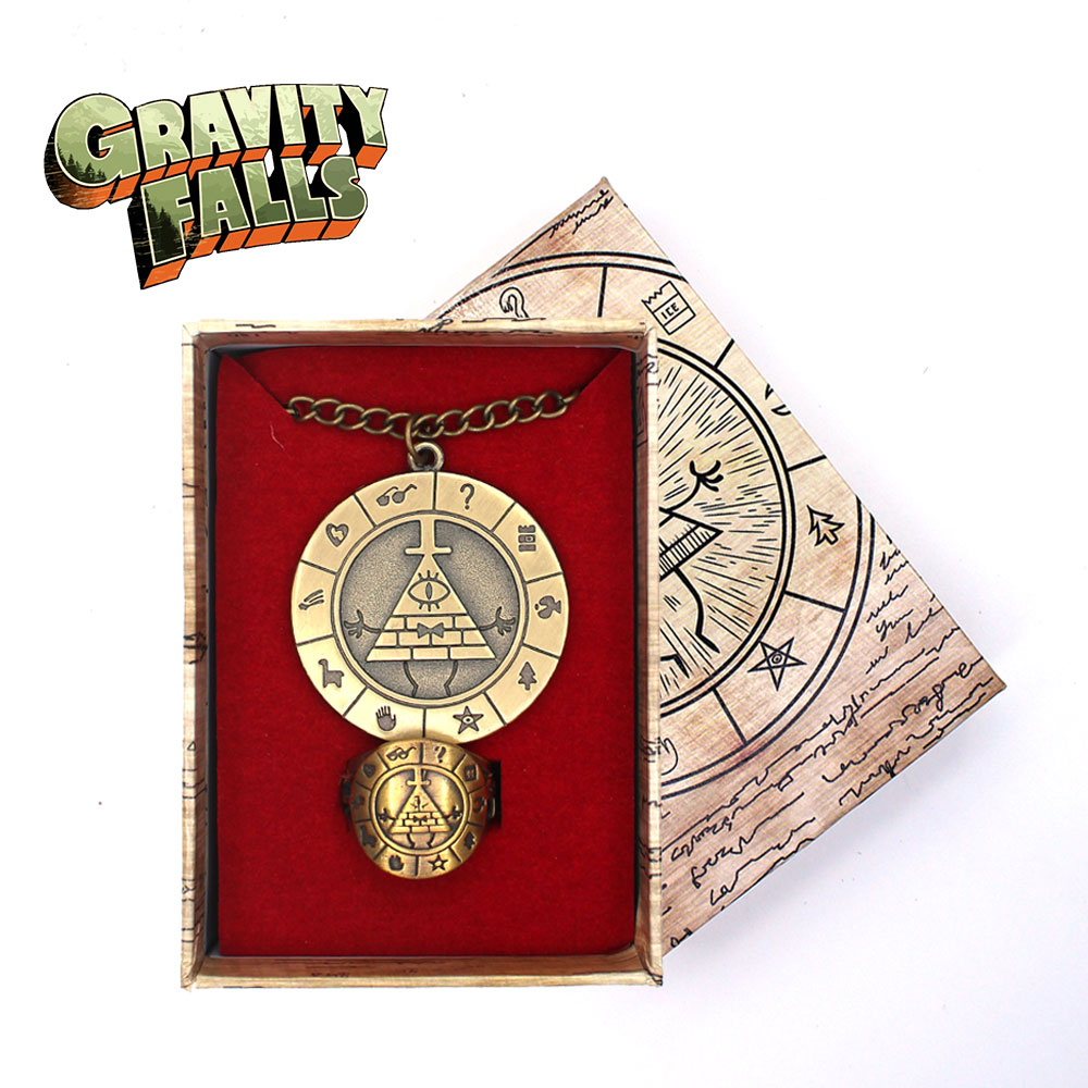 Anime Gravity Falls Bill Cipher Dipper Cute Cool Metal Bronze Necklace+Ring+ Box Costume Accessory Pendants Ornament Decor Gift