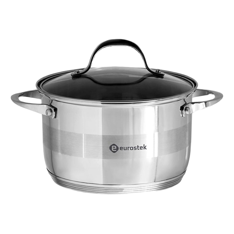 Saucepan with lid Eurostek ES-1008 (diameter 24 cm, Volume 5.5 L stainless steel, cover made of heat resistant glass, ненагревающиеся handle) clamp collar double split made of stainless steel 1 4301 bore 75mm with bolt din 912