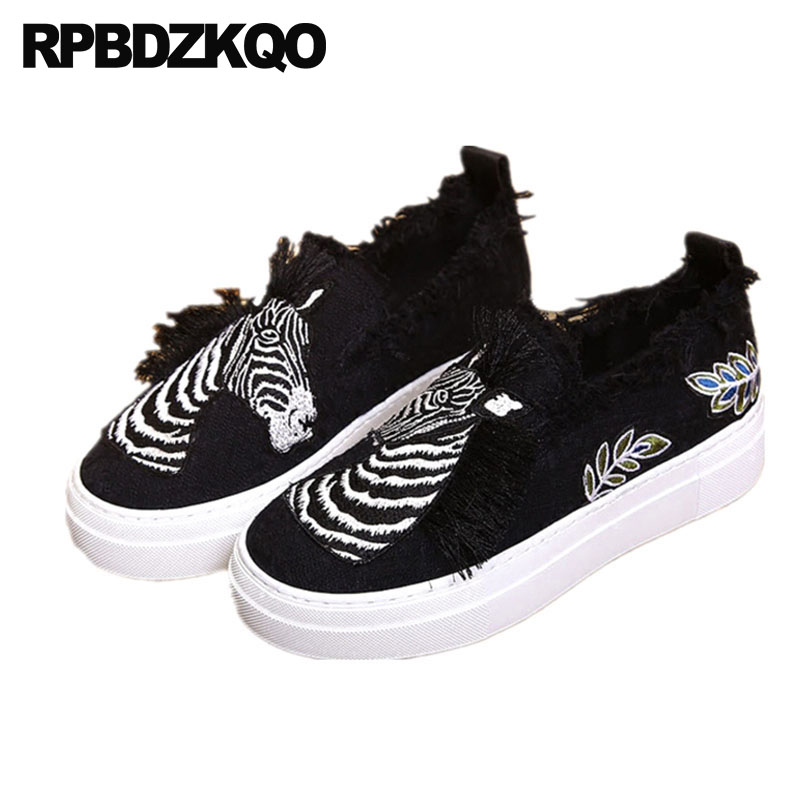 Black Women Tassel Fringe Embroidery Animal Print Elevator Flats Slip On Creepers White Canvas Shoes Platform Embroidered Zebra