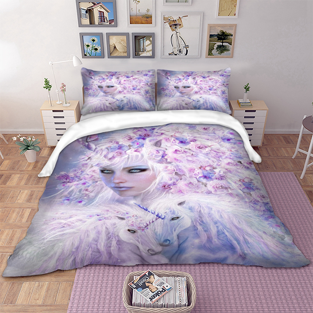 3D unicorn beauty Bedding Set Duvet Cover With Pillowcases Twin Full Queen King Size Bedclothes 3pcs home textile3D unicorn beauty Bedding Set Duvet Cover With Pillowcases Twin Full Queen King Size Bedclothes 3pcs home textile