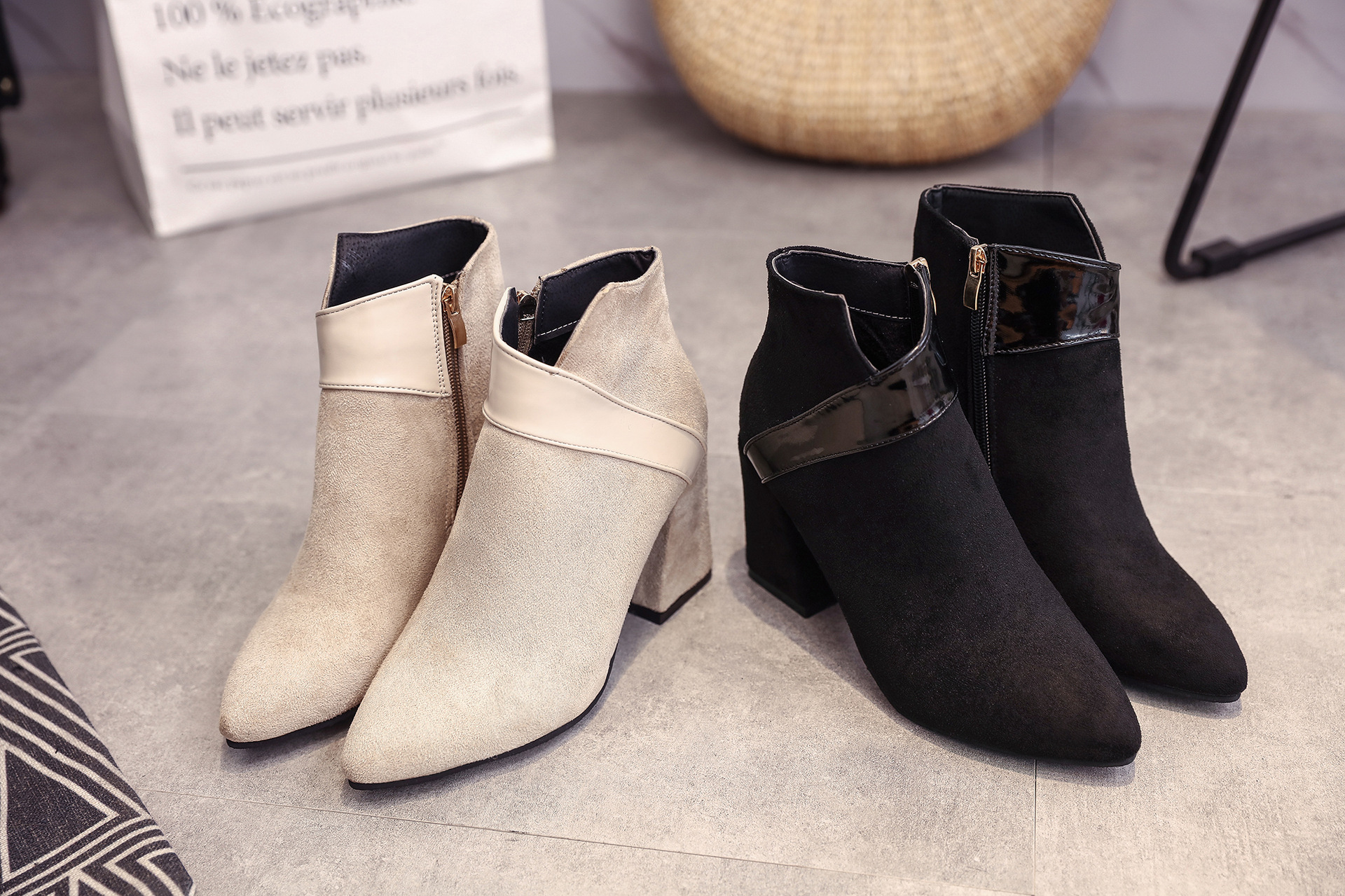 High heels shoes women autumn winter sexy pointed toe ankle boots ladies retro chunky heels short boots botas mujer beige black 63