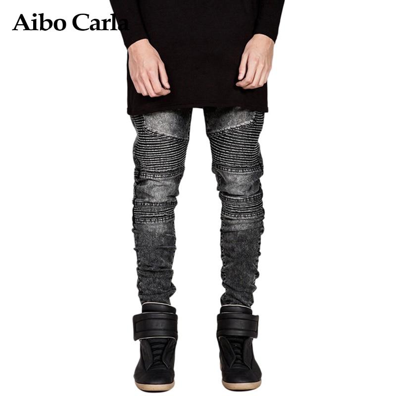 Mens Fashion Biker Jeans Men Straight Fit Skinny Pants Hip Hop Vintage Denim Jeans Men Trousers 38 Size Black dsel designer men jeans slim fit straight denim thin stretch mens skinny biker jeans casual pants hip hop denim trousers