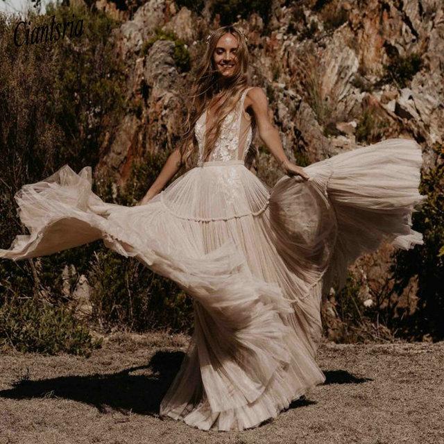 Nude Champagne Wedding Dresses 2021 Deep V-Neck Bohemia Deep V-Neck Whimsical Boho Dreamy Bridal Gowns Beach Vestido De Noiva 4
