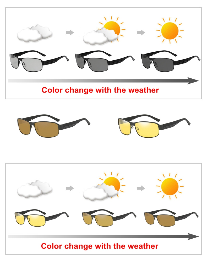 2019 Polarized Photochromic Sunglasses Rectangle Polarized Sunglasses Night Vision Driving Sun Glasses Photochromic Grey Yellow 2