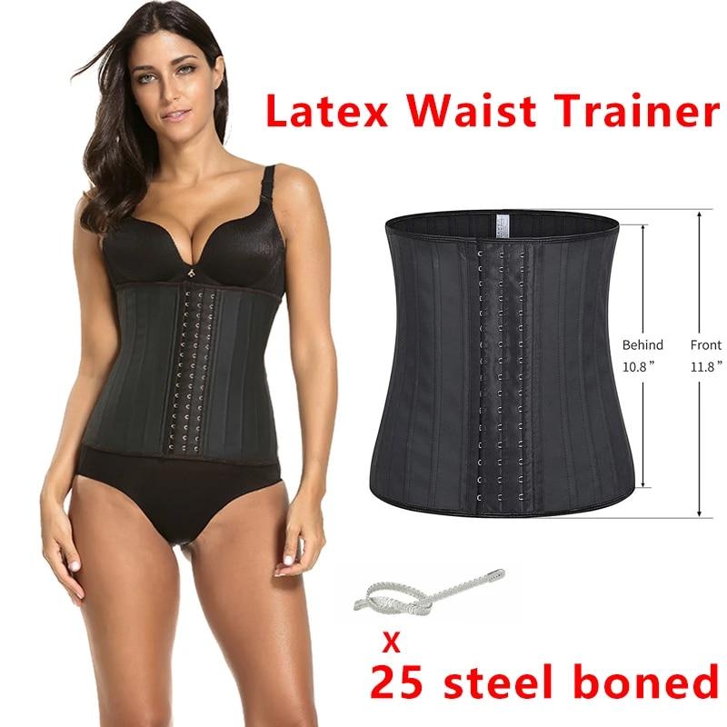 Slimming Waist Trainer Shapewear Steel Boned Underbust Corset Latex Body Shaper
