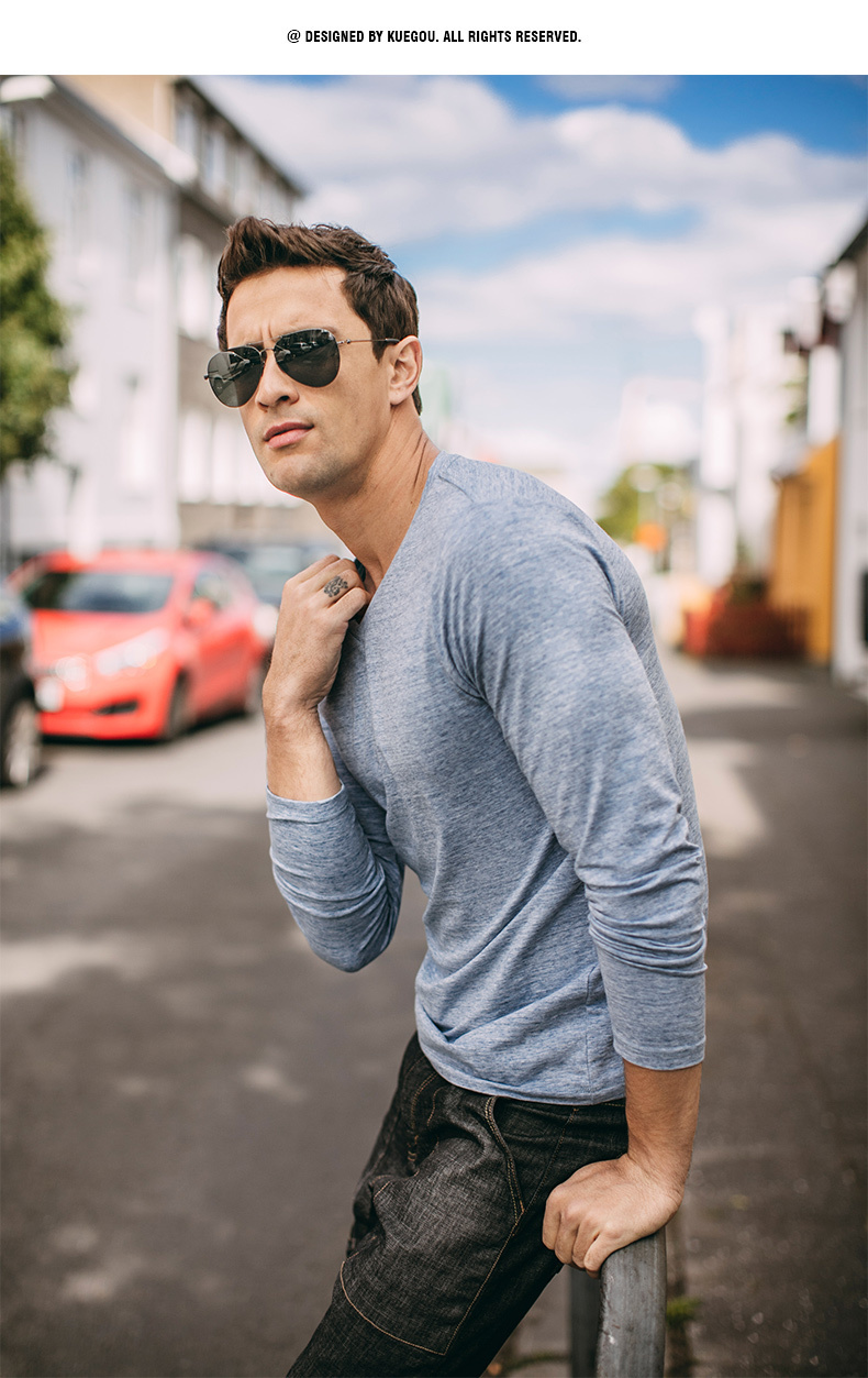 Autumn Men T Shirt Cotton V-Neck Blue Color For Man Casual Long Sleeve Slim Fit T-Shirt Male Wear 2018 New Tops Tee Shirt 268 9