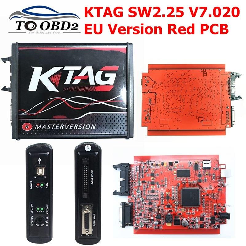 2019 Newest 4LED Red PCB KTAG V7.020 SW2.25 EU Version Unlimited Token K-TAG 7.020 Multi-Language Online Version