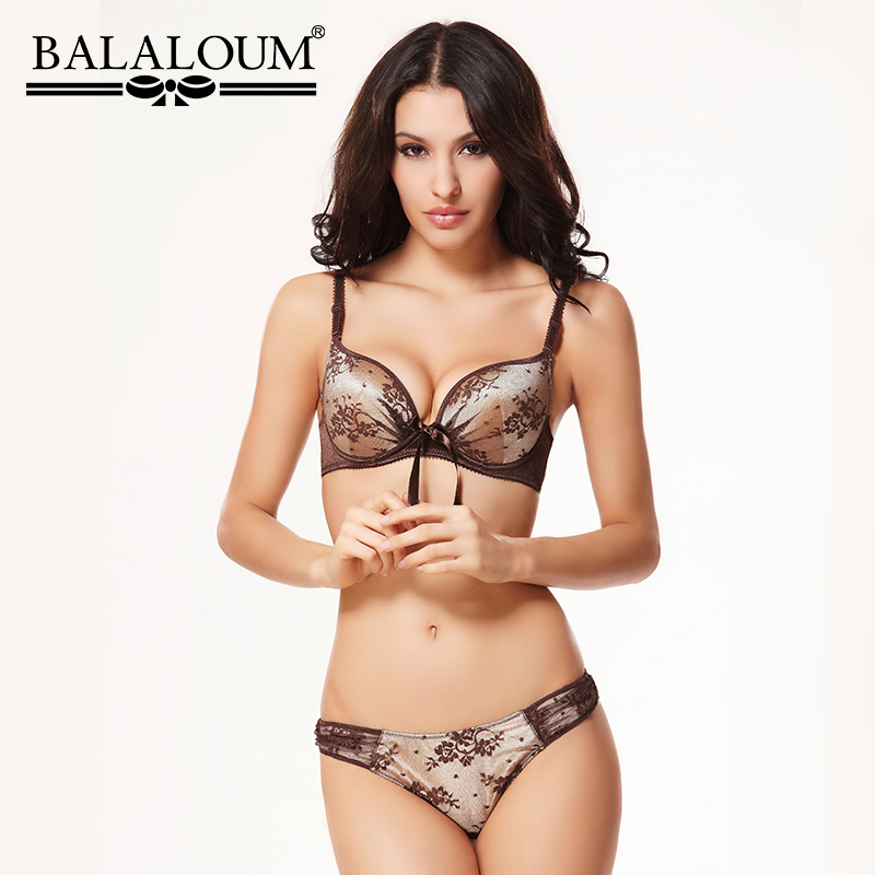 BALALOUM Sexy Women Seamless   Bra   and Panty Lingerie   Sets   Bowknot Floral Lace Embroidery Underwear With T Back Thongs G-String