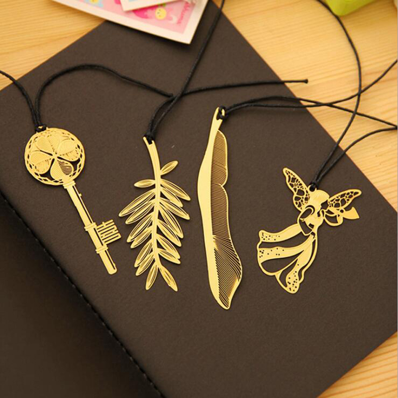 1pc Creative Beautiful And Delicate Fresh Bookmarks Cute Leaves Feather Angel Key Bookmark Children Students Stationery Gifts