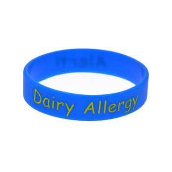 1PC Alert Dairy Allergy Silicone Wristband for Daily Reminder Kids Size 2