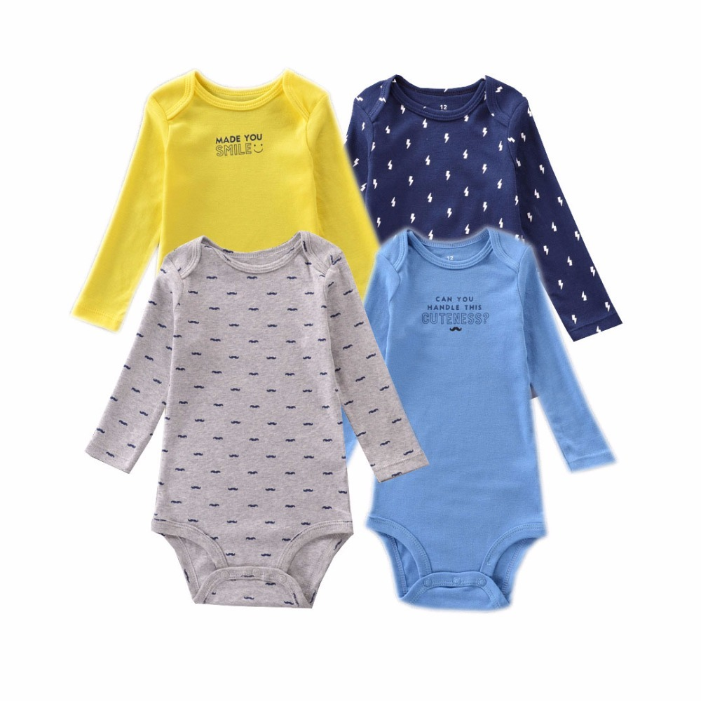 4Pcs Baby Rompers Cotton Baby Girl Clothes Spring Baby Boy Clothes Newborn Baby Clothes Roupas Bebe Infant Bebe Jumpsuits