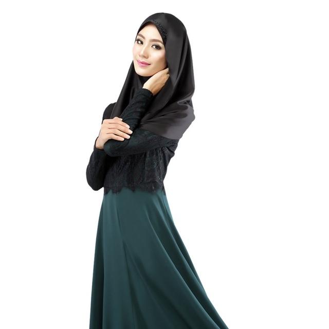 Fashion Long Sleeves Women's Maxi Dress Lace Muslim Abaya Party Long Dress