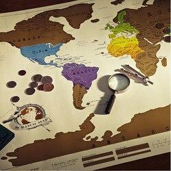 1 PCS 88x52 centímetros Raspe MAP Raspadinha Viagem Mapa Do Mundo Mapa Presente Da Novidade kk
