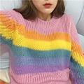 Mulheres do Outono e do inverno vento Colégio Casuais todo o jogo bonito cores Do Arco Íris de manga comprida Em Torno Do Pescoço pulôver camisola solta para gir