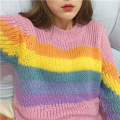 women Autumn and winter College wind Casual all-match cute Rainbow colors long sleeved Round Neck pullover loose sweater for gir
